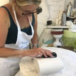 making a model in plaster by hand