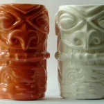 Tiki mug Orange & Clear Glazed samples - W3 Ltd